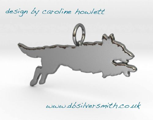 Flatcoat retriever jumping leaping dog pendant sterling silver handmade by saw piercing